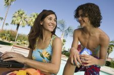 Free Mother And Son At Swimming Pool Royalty Free Stock Photos - 13584038