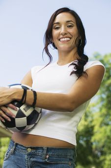 Free Woman Holding Soccer Ball Royalty Free Stock Image - 13584066