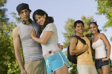 Two Young Couples Outdoors. Stock Photo