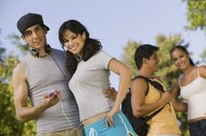 Two Young Couples Outdoors. Stock Photos