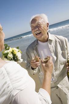 Free Senior Newly Weds Toasting Champagne Royalty Free Stock Image - 13584216
