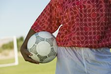 Free Girl (13-17) Holding Soccer Ball Royalty Free Stock Photography - 13584687