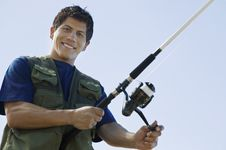 Man Fly Fishing Royalty Free Stock Images