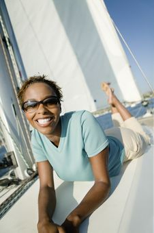 Free Woman Relaxing On Yacht Royalty Free Stock Image - 13584806