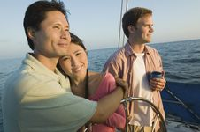 Free Couple With Friend Relaxing On Yacht Royalty Free Stock Photos - 13584878