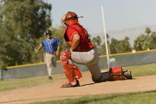 Free Runner Approaching To Catcher Stock Images - 13584894