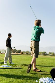 Free Two Man Practising Golf Stock Photography - 13584942