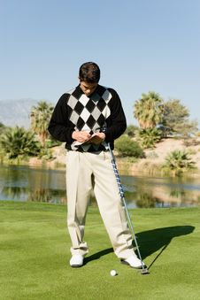 Free Golfer Taking Notes Stock Photos - 13584953