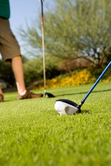 Free Golfers Holding Clubs Standing On Green Royalty Free Stock Photo - 13584955