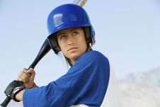 Free Young Woman With Softball Bat Stock Images - 13585034