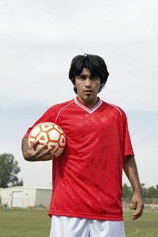 Free Soccer Player Holding Ball Royalty Free Stock Photography - 13585077
