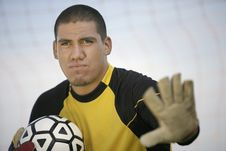 Goalkeeper Holding Ball Stock Photo