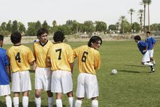 Free Soccer Players Preparing For A Free Kick Stock Photos - 13585103
