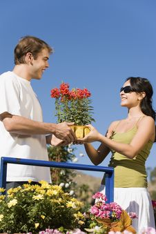 Free Young Couple Choosing Potted Flowers Royalty Free Stock Photo - 13585135