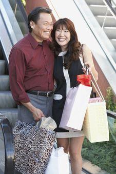 Free Smiling Couple On Shopping Trip Stock Photos - 13585163