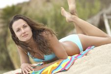 Free Woman Lying Beach Towel Royalty Free Stock Image - 13585226