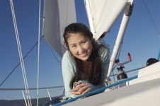 Free Young Woman On Sailboat Royalty Free Stock Photo - 13585285