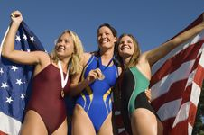 Free Three Female Swimmers Celebrating Victory Royalty Free Stock Photos - 13585328
