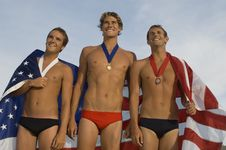 Free Triumphant Male Swimmers Royalty Free Stock Images - 13585349