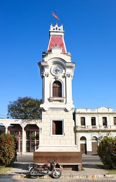 Clock Tower In Front Of Train Station In Santiago Stock Photography