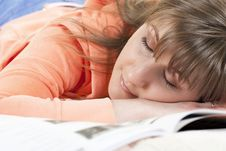 Young Woman Fallen Asleep Royalty Free Stock Photo