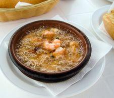 Free Fresh Gourmet Soup Of Prawns Royalty Free Stock Image - 13588666