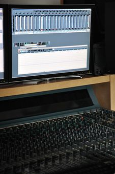 The Mixing Desk And Monitor Stock Image