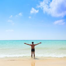 Free Man Stands In The Sea Royalty Free Stock Photo - 13588815