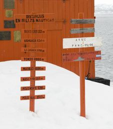 Free Antarctic Sign Posts Royalty Free Stock Image - 13589196