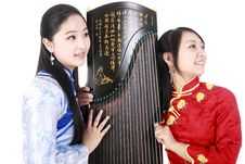 Chinese Female Musicians Stock Photo