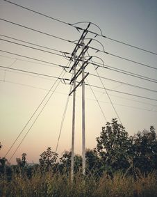 Free Overhead Power Line, Electricity, Sky, Transmission Tower Stock Image - 135806601