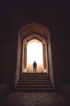 Free Man Standing Between Stairway On Pathway Stock Images - 135840784