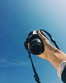 Free Photo Of Hand Holding Up A Black Canon Dslr Camera Stock Image - 135840871