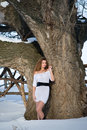 Free Fashion Model In Winter Forest Stock Photo - 13596280