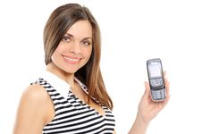 Free Portrait Of A Happy Woman Showing Her New Phone Stock Photos - 13590693