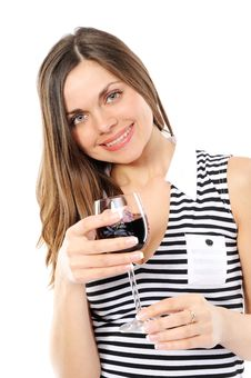 Free Portrait Of Beautiful Woman With Glass Red Wine Stock Photos - 13590713