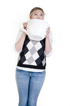 Free Young Woman With A Cup Stock Photo - 13591190
