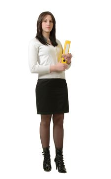 Free Cheerful Young Business Lady With A Folder Stock Photography - 13591252