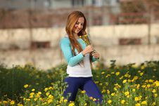 Free Beautiful Young Woman Standing In Meadow Royalty Free Stock Image - 13591456