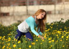 Free Beautiful Young Woman Standing In Meadow Royalty Free Stock Photo - 13591545