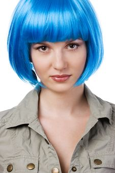 Free Woman In Blue Wig Royalty Free Stock Images - 13592099