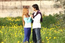 Young Couple Standing In Meadow Stock Image