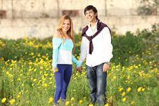 Free Young Couple Standing In Meadow Stock Image - 13592241