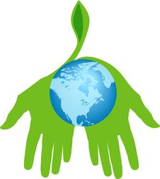 Hands Holding World For A Greener Place