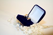 Free Two Wedding Rings In Double Blue Box Whith Jewel Stock Images - 13592984