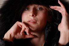 Free Woman In Black Hood Stock Images - 13593444