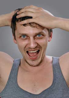Free Portrait Of Shouting Young Man Royalty Free Stock Photography - 13595667