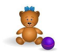 Bear-babe With A Bow And A Ball Royalty Free Stock Photos
