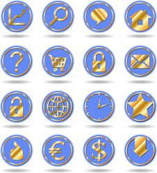 Free Gold Web Buttons Stock Photos - 13595823