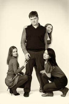 Free Three Girls Around One Man Stock Photos - 13596543